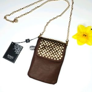 Cross body phone purse leather brown small